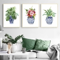 chinoiserie art print ginger jar blue white porcelain china ming vase wall art canvas painting poster floral decor