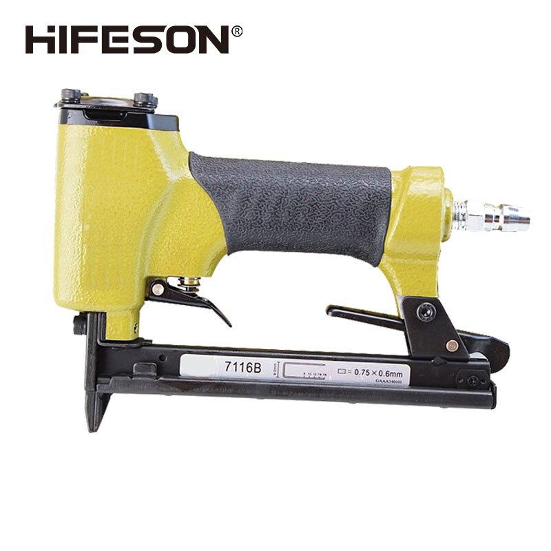 HIFESON-مسدس مسامير هوائي, مسدس مسامير هوائي موديل 7116b على شكل U ، أداة تسمير ، دباسة أسلاك للأثاث ، للأريكة الخشبية والنجارة