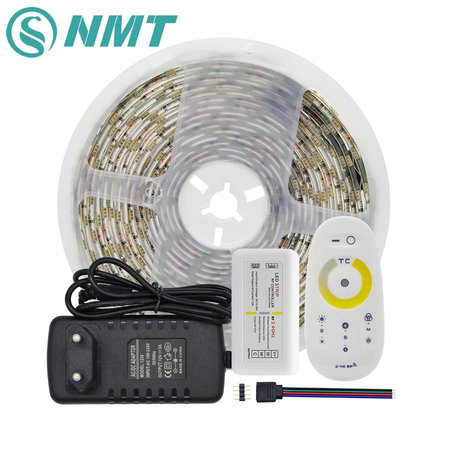 CCT LED قطاع مجموعة للماء/غير للماء SMD 5050 60 المصابيح/m Led شريط ضوء الشريط + 2.4G /24 مفتاح تحكم عن بعد