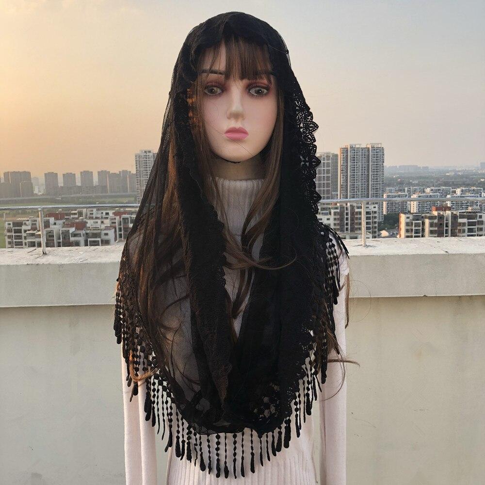 Mantillas de velo católico para mujeres blancas y negras populares, velo musulmán elegante de Jerusalén para mujeres, chal con borlas de encaje, bufanda, Capa de Iglesia