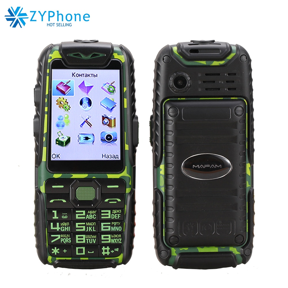 Rubber Dual Sim Torch Big Key Car Driving Recorder Power Bank Long Standby 9800mah Outdoor Shockproof Rugged Mobile Phone M6