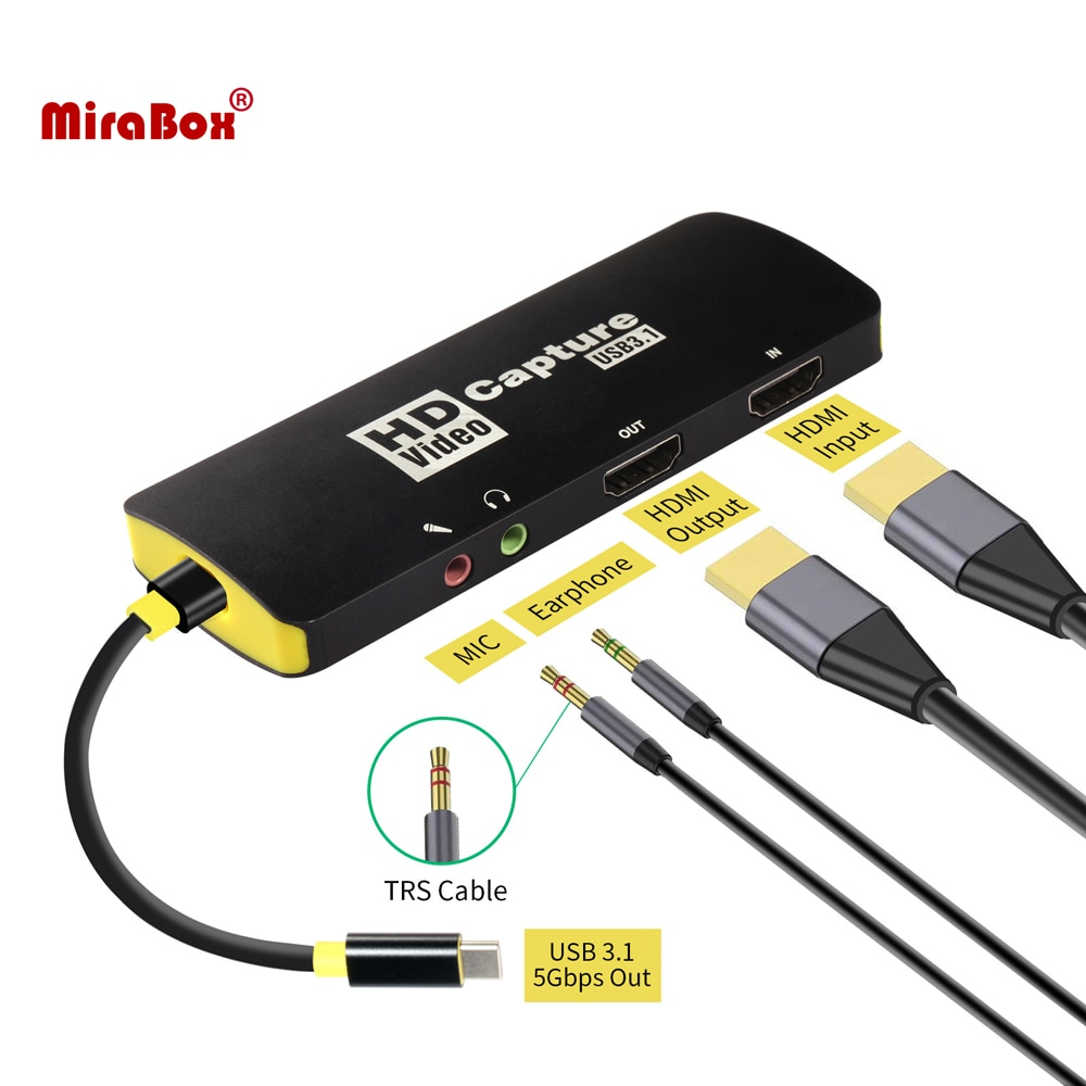 Mirabox 1080P Game Capture Card,USB3.1 Type C Capture Card,With 3.5mm Audio In/out for PS4 Switch OBS YouTube
