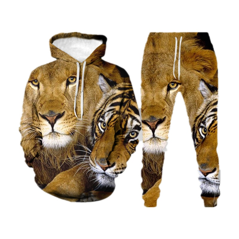 Men 3D Leopard Print Sets Casual Fashion Hooded Pants Hooded Sweatshirt + Sweatpants Sportswear Spring and Autumn Two-Piece Sets