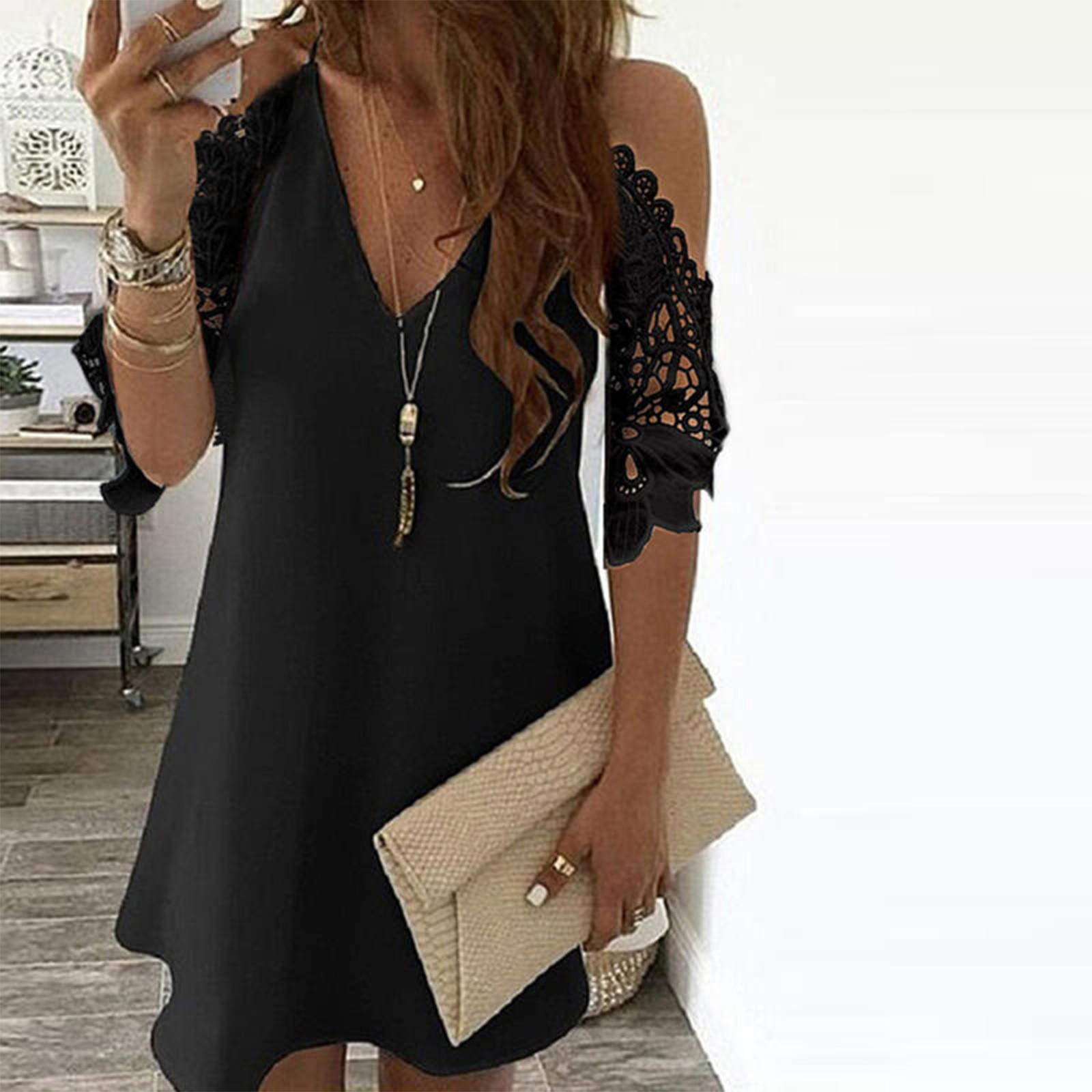 40# Office Lady Lace Dress Women Off Shoulder V Neck Half Sleeve Dress Elegant Floral Print Dresses For Women 2021 Vestidos