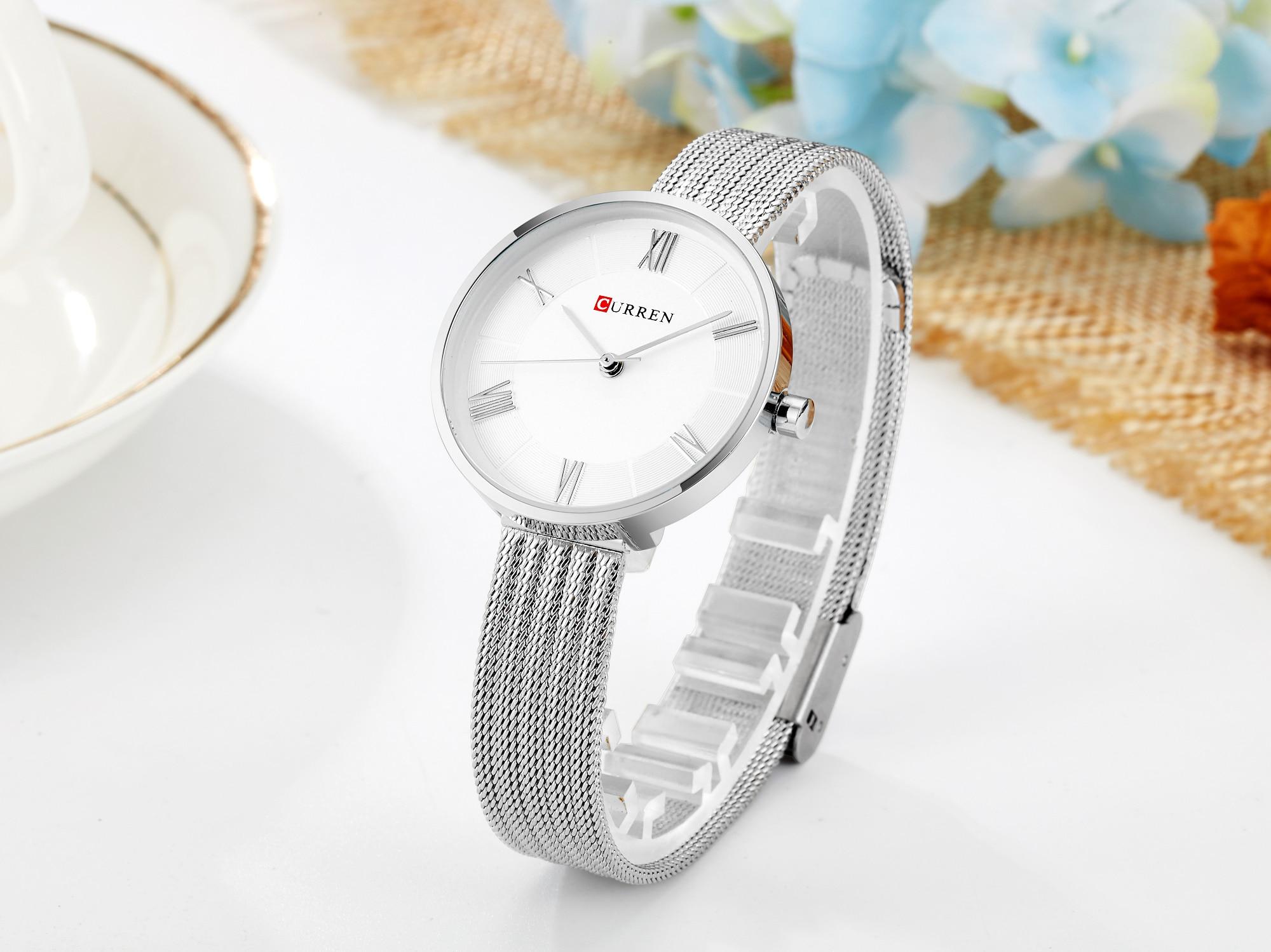 CURREN Women Watch Minimalist Style Wrist Watch Silver Stainless Steel Simple Modern Quartz Female Watch Waterproof Reloj Mujer enlarge