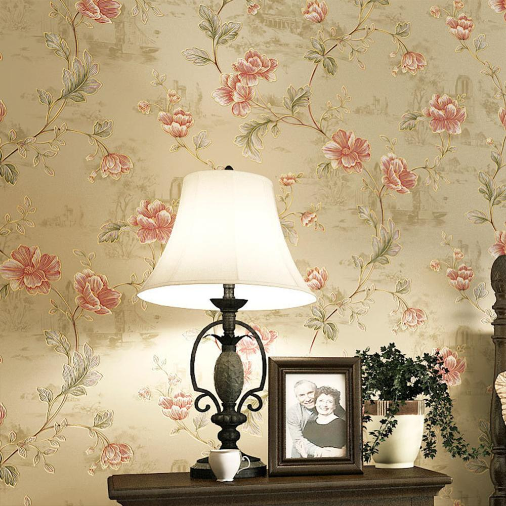 american style bedroom wall covering modern vintage pink floral wallpaper blue tropical butterfly birds flower wall paper Vintage Pastoral Wallpaper Roll American Rural Classic Retro Wall Paper Flower Bedroom Living Room Hotel Wallcovering Mural
