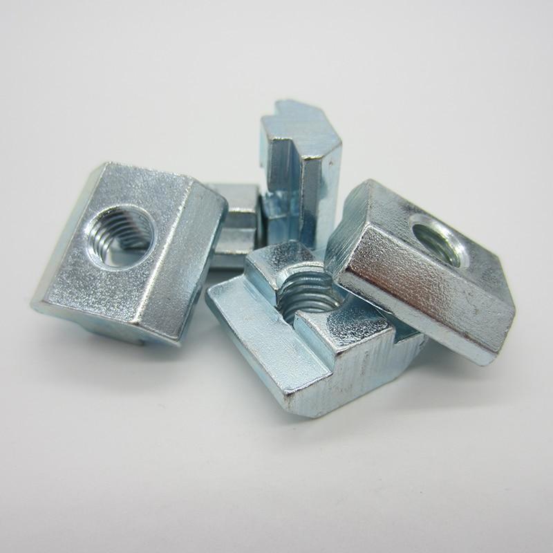 Купить с кэшбэком M3 M4 M5 M6 M8 M10 T Block Square nuts T-Track Sliding Hammer Nut for Fastener Aluminum Profile 2020 3030 4040 4545