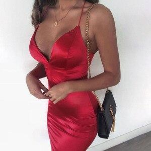 Moulante Sexy Robe rouge noir mi longue Femme Satin  été de soirée Mariage  Vetement Cocktail 2021 Printemps Satin Corset  Dress