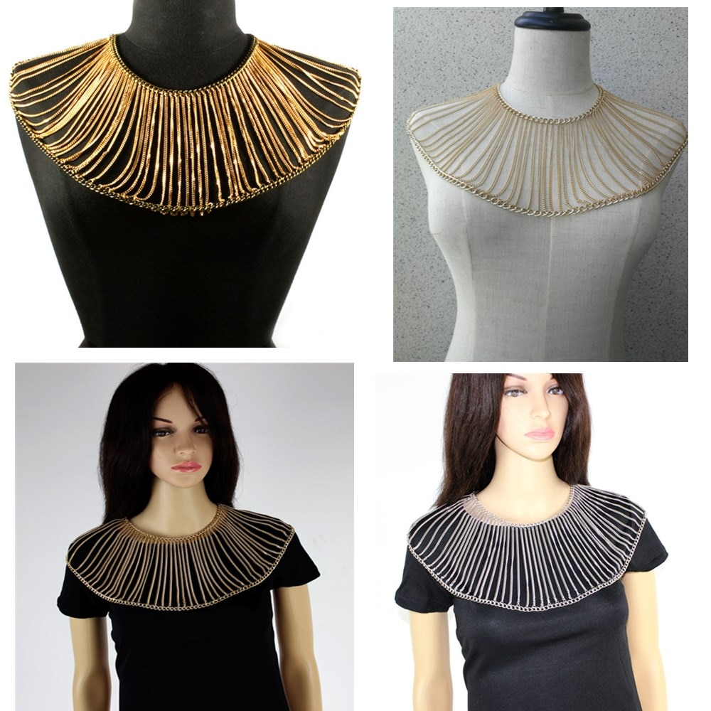 Twitter Neck Body Shoulders Chain Jewelry Women Body Chains Jewellery Three Colors Gold Silver Choose
