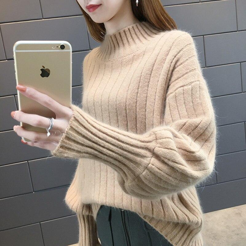 Camisola feminina 2019 outono inverno lanterna manga ruched meia gola alta malha pullovers jumpers puxar femme hiver