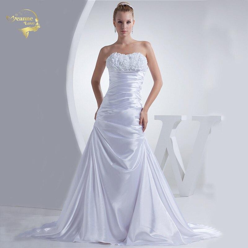 Jeanne Love Mermaid Satin Wedding Dresses 2020 Elegant Gowns Bride Flower Ruched Bridal Robe De Mariage