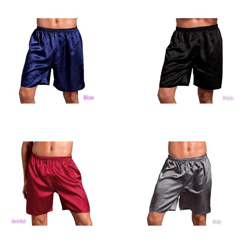 Mens Satin Pajamas Boxer Shorts Plain Solid Color Sleepwear Underwear Loose Mid Rise Elastic Waist L