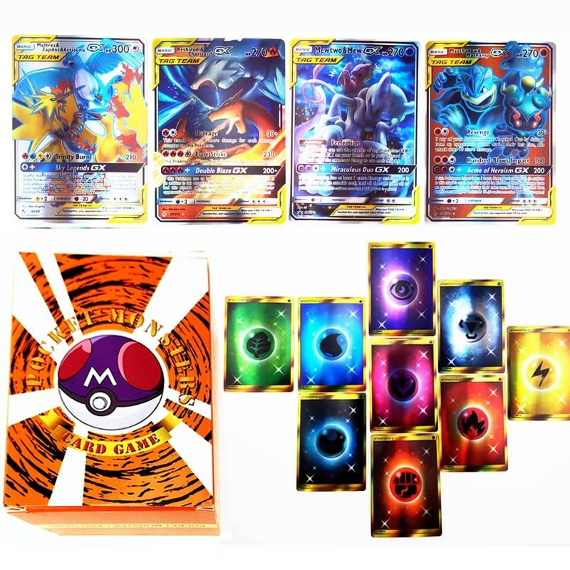 100pcs Pokemon TAG TEAM GX Trainer Energy Shining Card Box TAKARA TOMY Game Card Battle Trading Cart
