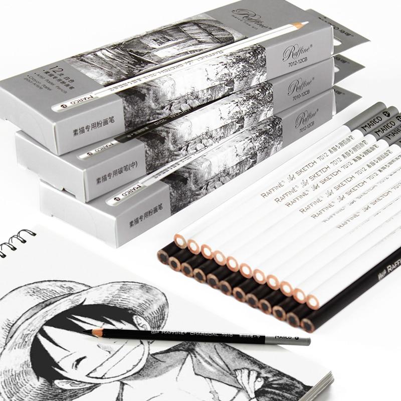 12 Uds. De lápices De carbón negro Profesional, Conjunto blanco De Lapices...