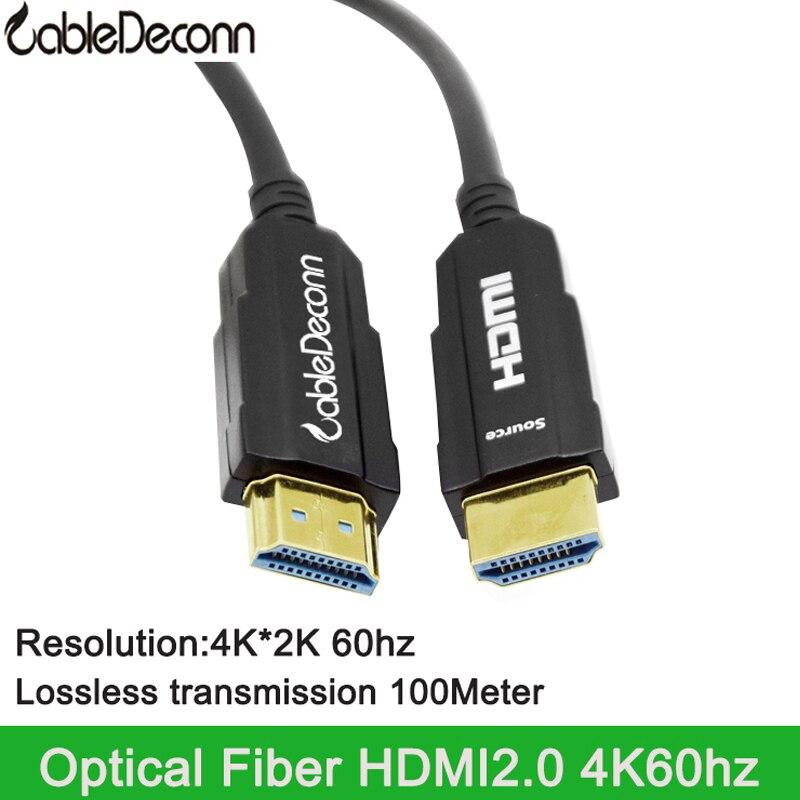 Cable hdmi de fibra óptica 4k @ 60Hz ordenador TV portátil PS4 Pantalla de proyector conectado singal HDR