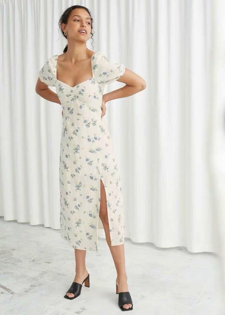 2020 Summer New European American Square Collar Split Linen Floral Print white zaraing vadiming sheining women Dress O9695