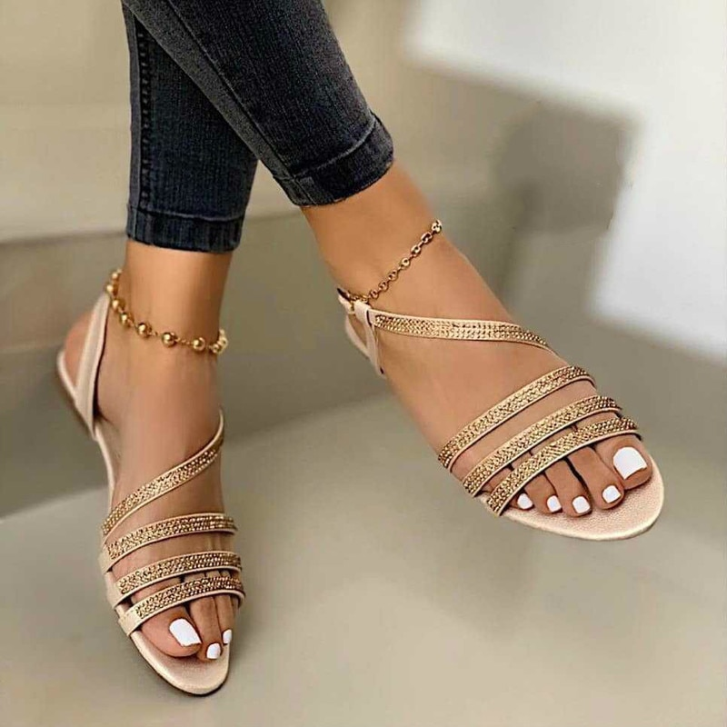 Sandalias De cristal para Mujer, Zapatos planos a la moda, informales, con...