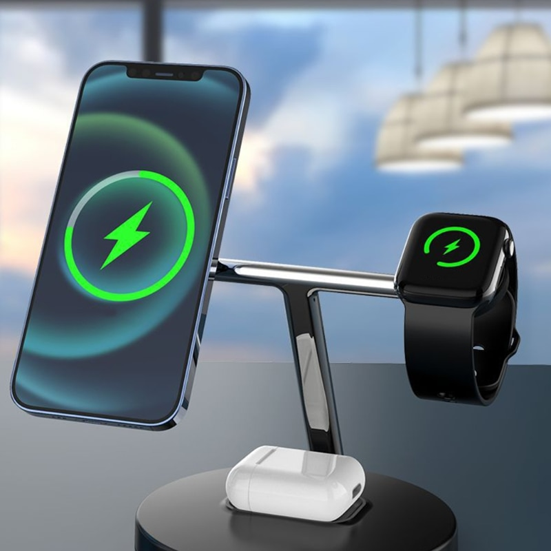 15W Phone Earphone Watch 3in1 Wireless Magnetic Charger Stand Wireless Charger Creative Desktop Char