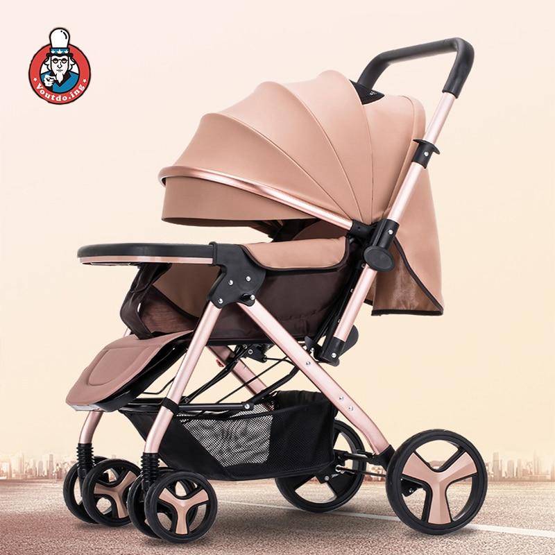 Carrito de bebé plegable portátil, carrito de bebé de lujo para bebés, cochecito de bebé de paisaje alto, coche de cama de doble propósito para recién nacidos