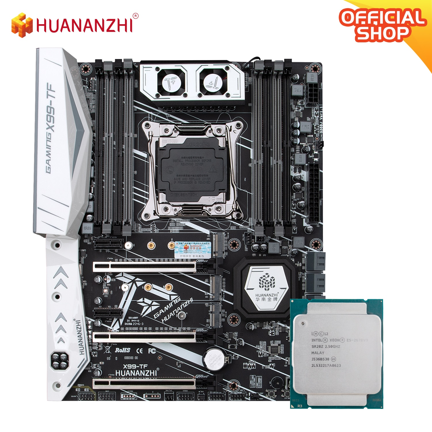 HUANANZHI X99 TF X99 Motherboard Intel with XEON E5 2678 V3 DDR3 DDR4 RECC memory combo kit set NVME SATA 3.0 USB3.0 ATX Server