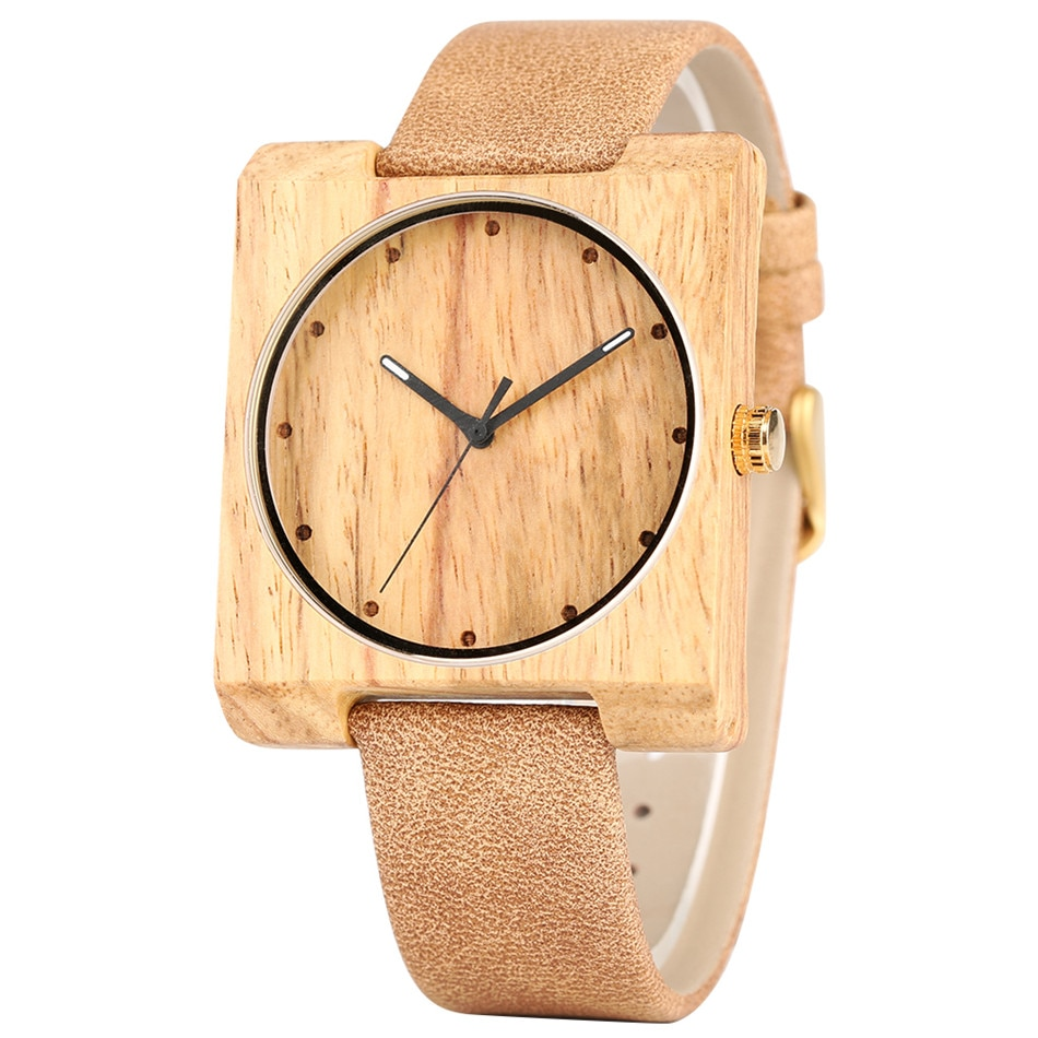 REDFIRE Zebra Wood Watch Lady Wooden Watches Square Wooden Case Simple Round Dial Elegance Girls Genuine Leather Wristwatch enlarge