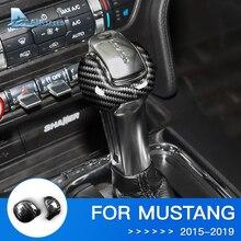 Couvercle de bouton de vitesse Airspeed   Autocollant en Fiber de carbone, accessoires pour Ford Mustang 2015 2016 2017 2018 2019