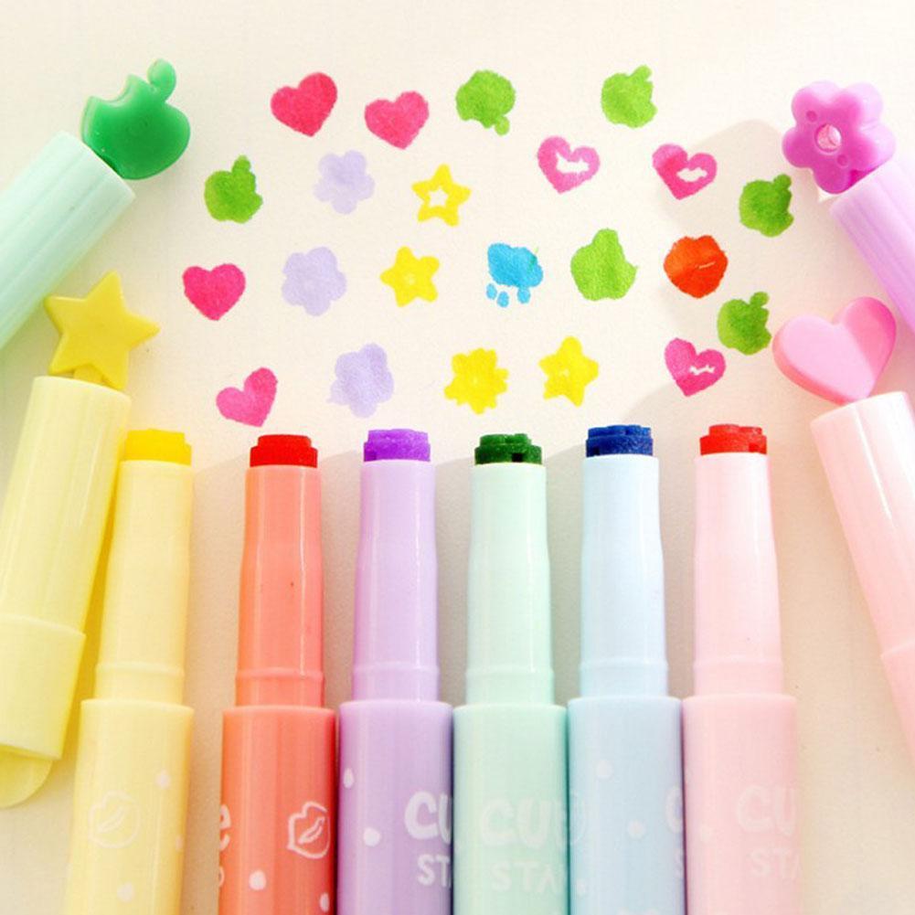 1 stücke Nette Candy Farbe Kawaii Textmarker Stift Kreative DIY Briefmarken Highlighter Stift Marker Stift Schule Bürobedarf Schreibwaren