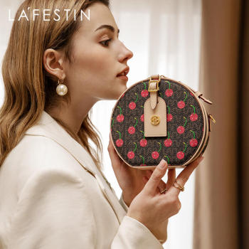 LA FESTIN 2021New Fashion Small Round Bag One-shoulder Crossbody Bags Cherry Mini Messenger Female Bag Designer Women Handbag