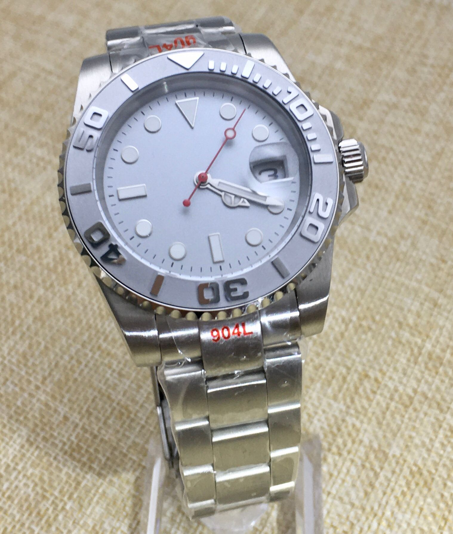 Silver Grey Luminous Dial Men's Watch Automatic Mechanical Clock Ceramic Bezel Stainless Steel Strap