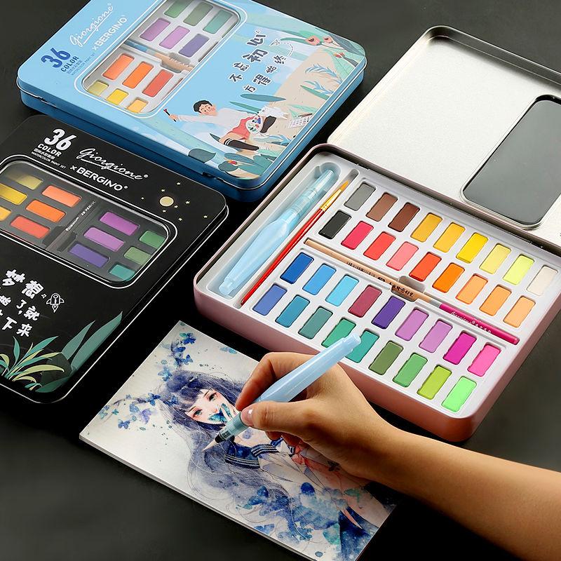 36 Colors Solid Watercolor Paint Set Portable Drawing Brush Acrylic Art Painting Supplies Kid Paint Set  Watercolor Palette