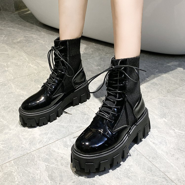 Patent Leather Black High Platform Boots Women Fashion Martin Boots Women 2019 Non-slip Wear-resistant Sole Ankle Boots Ladies