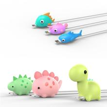 Cute Earphone Cable Bite Animals Protector For Iphone Charging Cord USB Cable Winder Cable Organizer Phone Holder Accessory