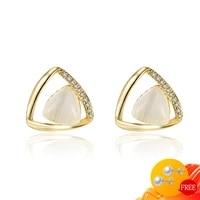 fashion 925 silver jewelry earrings for women geometric zircon gemstones wedding engagement party gifts stud earring wholesales