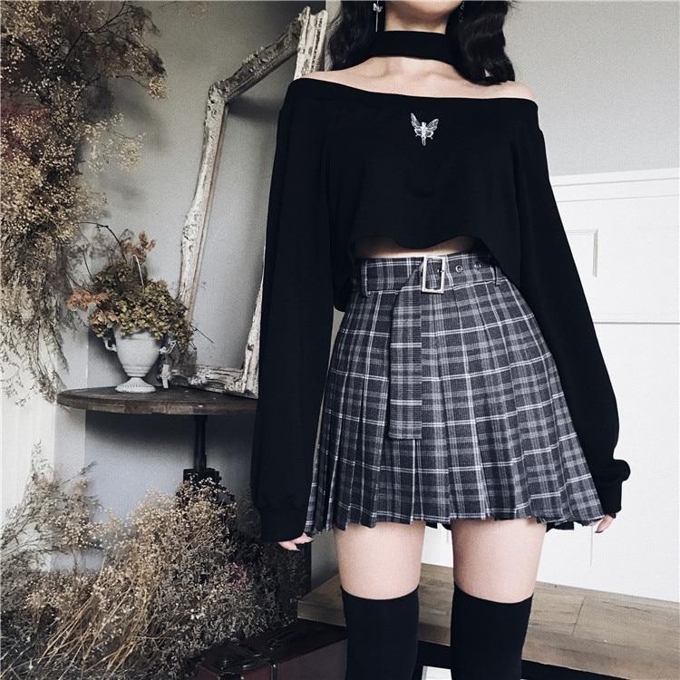 Ruibbit nuevo estilo Preppy primavera otoño Harajuku casual plisado pantalones cortos faldas corto chica punk de alta cintura de las mujeres Plaid Mini falda