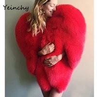 yeinchy women fashion jacket ladies faux fur autumn and winter big red heart style coat fm6291