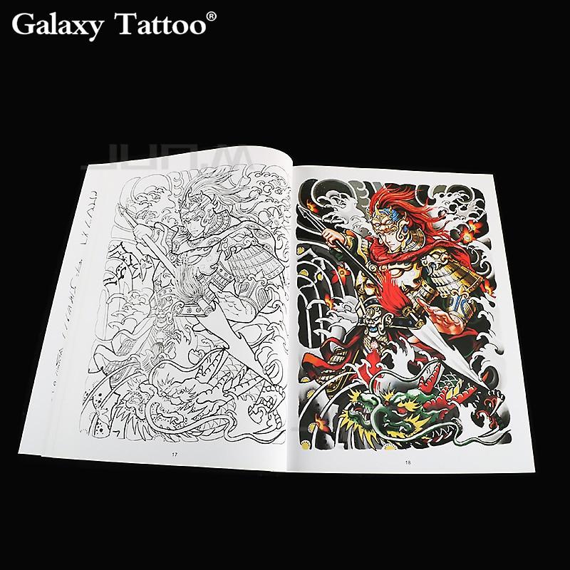 Dibujo de tatuaje de diseño grande A4, libro de Color, dibujo de contraste, Color, leyenda mitológica, personaje, historia, tatuaje humano, arte de 42 páginas
