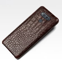 Coque De Téléphone Pour lg g6 g7 g8 cas G3 G4 G5 G8s ThinQ V10 V20 V30 V40 V50 Thinq Q6 Q7 Q8 K4 K8 2017 EN cuir véritable motif crocodile