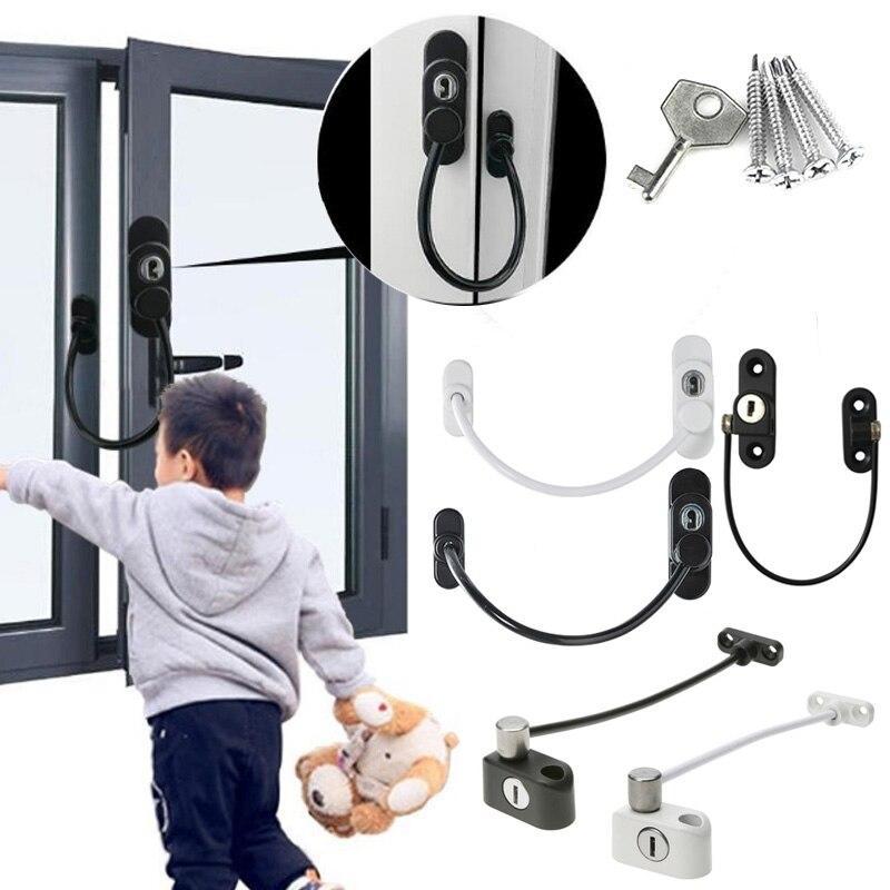 RMT-4008 janela fechaduras de segurança com fechadura cabo restritor para janela porta deslizante restrictor segurança infantil guarda com chave #9