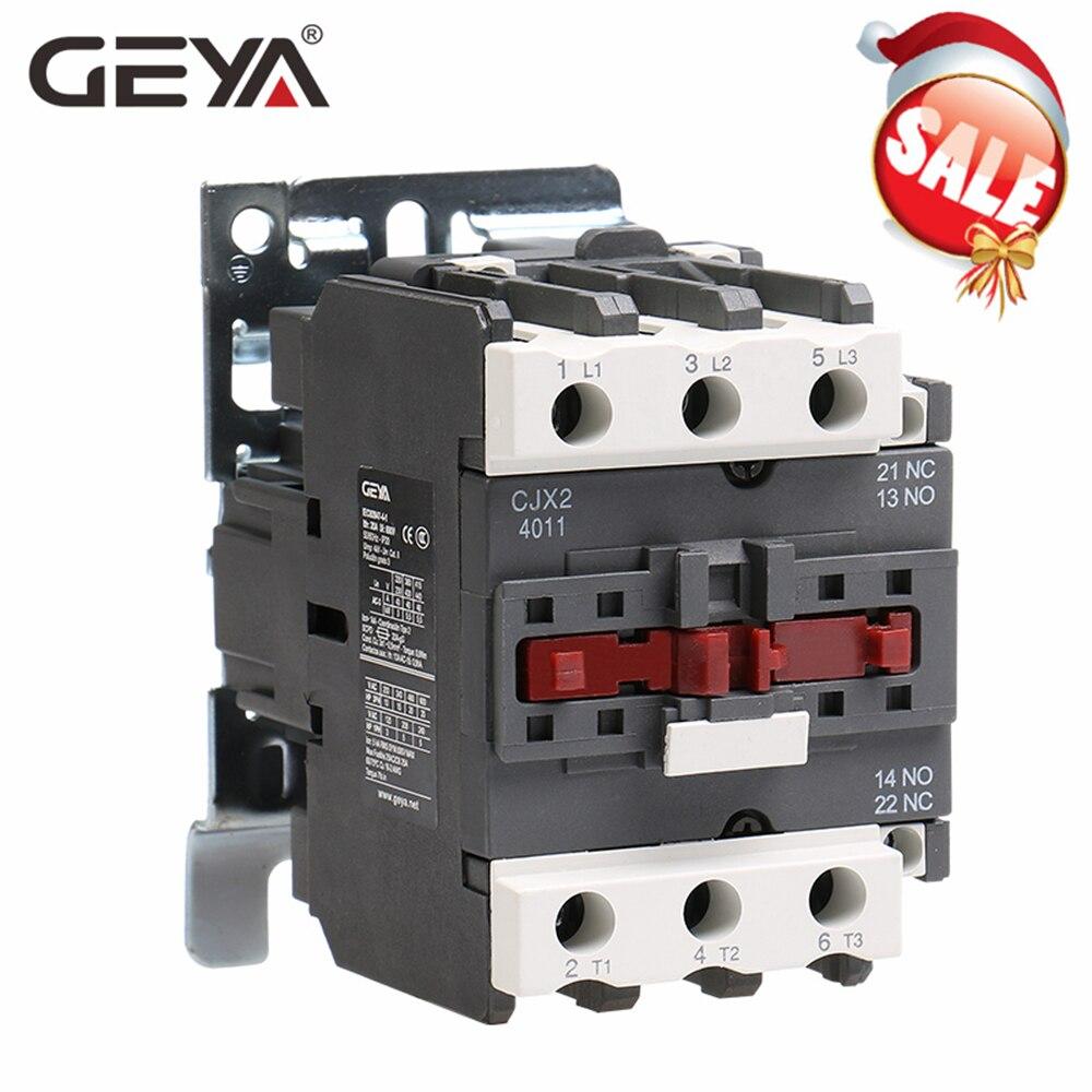 Geya CJX2-4011 5011 6511 contator magnético industrial 3 phase40a 50a 65a din trilho telemecanique contator ac 220 v ou 380 v