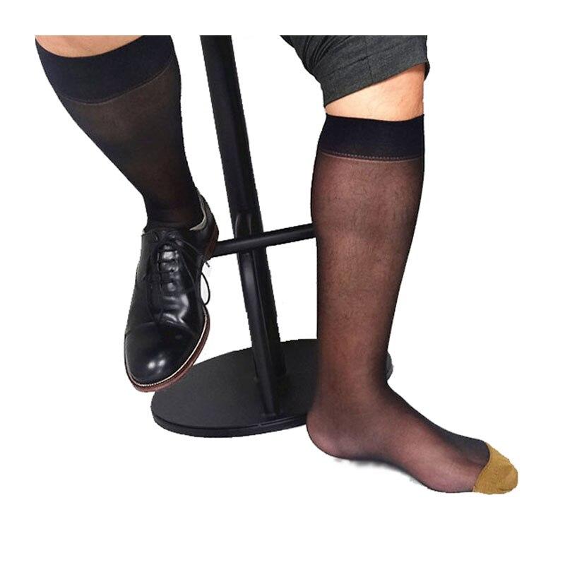 Брендовые мужские нейлоновые шелковые носки, прозрачные тонкие сексуальные деловые мужские носки, черные прозрачные носки, мужские Костюм...
