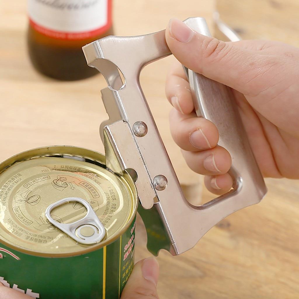 Herramienta de cocina y hogar profesional abrelatas Manual de acero inoxidable abridor de botellas de cocina herramienta de borde suave 710