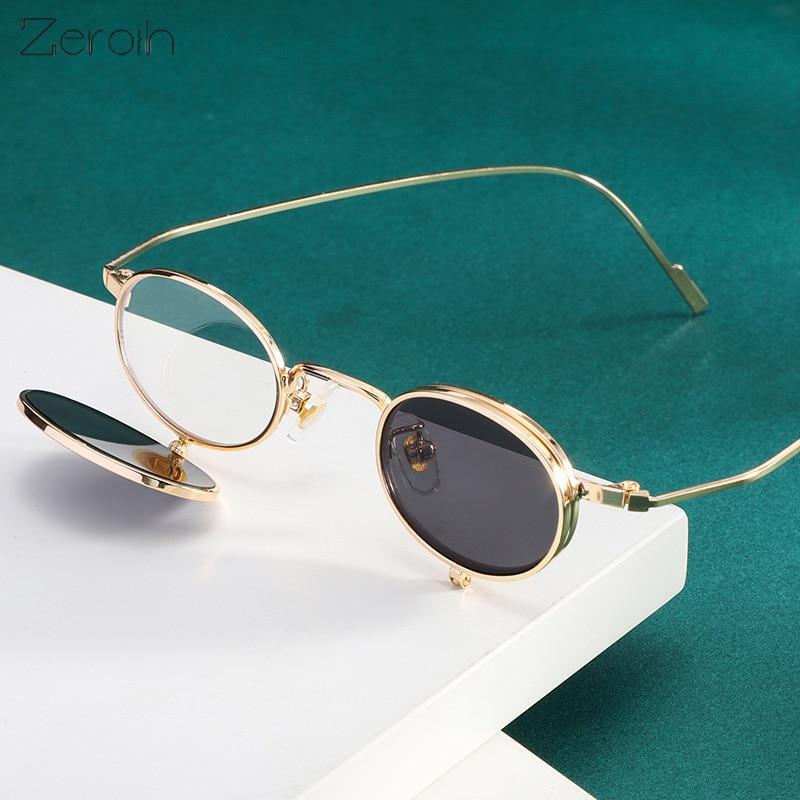 Модные солнцезащитные очки в стиле стимпанк, женские маленькие круглые очки, солнцезащитные очки в стиле ретро, мужские очки С Откидывающей...
