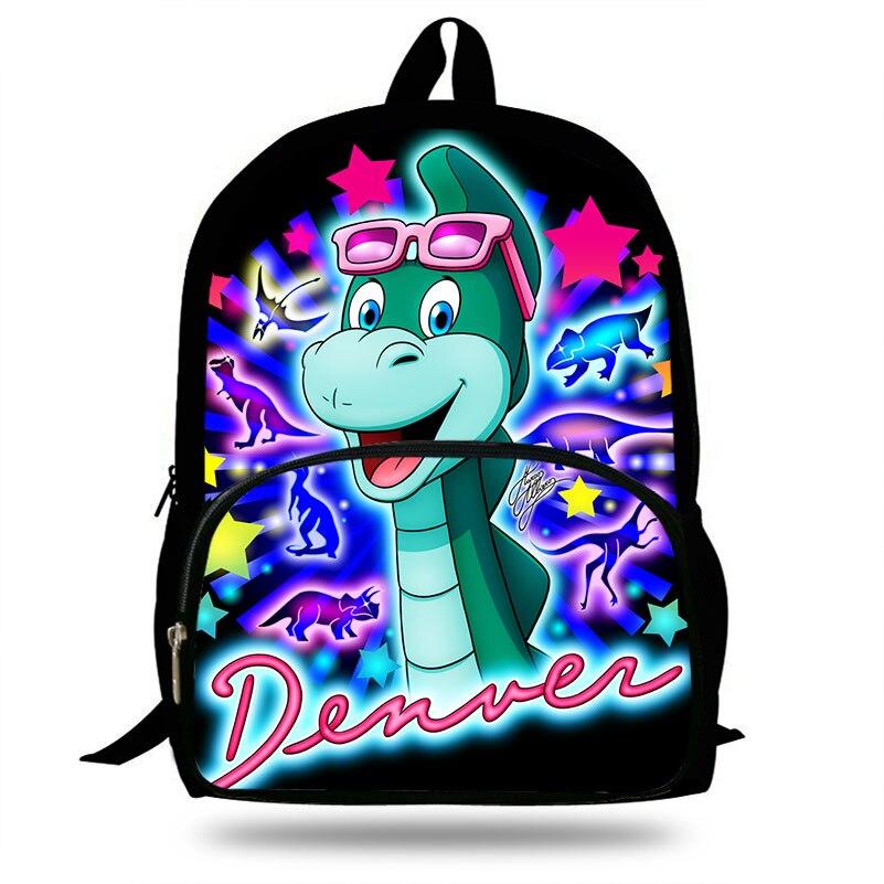 Denver o último dinossauro impressão crianças mochila saco de escola para adolescentes meninos/meninas sacos de ombro mochila estilo casual
