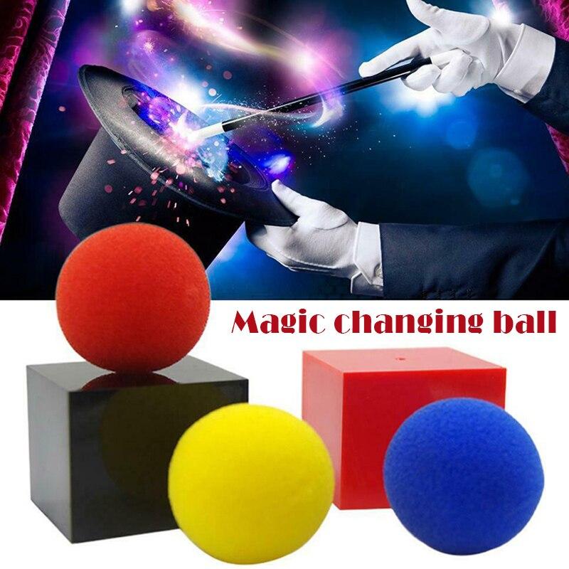 Venda quente caixa mágica dentro e para fora caixa com 3 bolas de esponja truque mágico desempenho partes adereços lbv