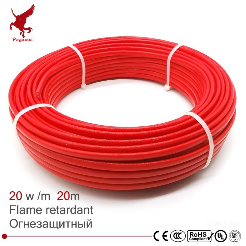 كابل تسخين مقاوم للحريق PTFE ، 20 متر ، 220 فولت ، 5.6 مللي متر ، حماية الأنابيب ، إزالة سقف الأرضية