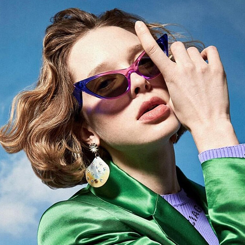 Moda Olho de Gato Sexy óculos de Sol Onda Personalidade Perna Óculos de Sol Das Mulheres Marca De Luxo Senhoras Do Vintage Oculos Cateye Tons Coloridos
