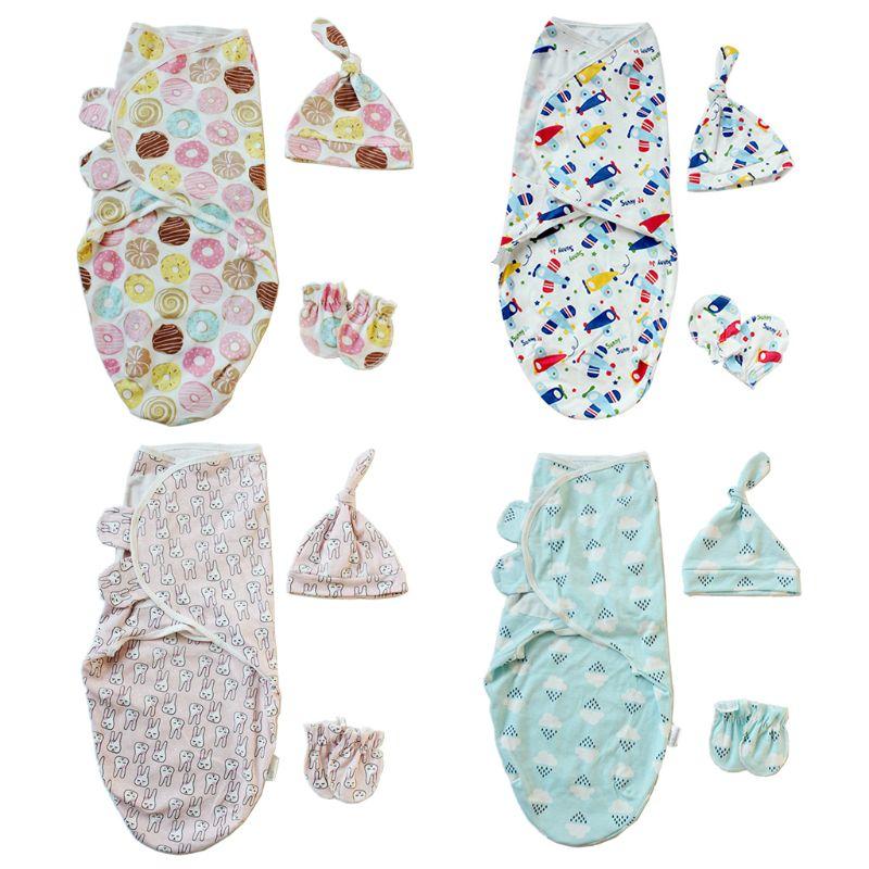 1 Juego de pañales para bebé, gorros y guantes, gorros de baño, saco de dormir, manta de pañales, anudada bonita Gorra de dibujos animados, guantes para raspar
