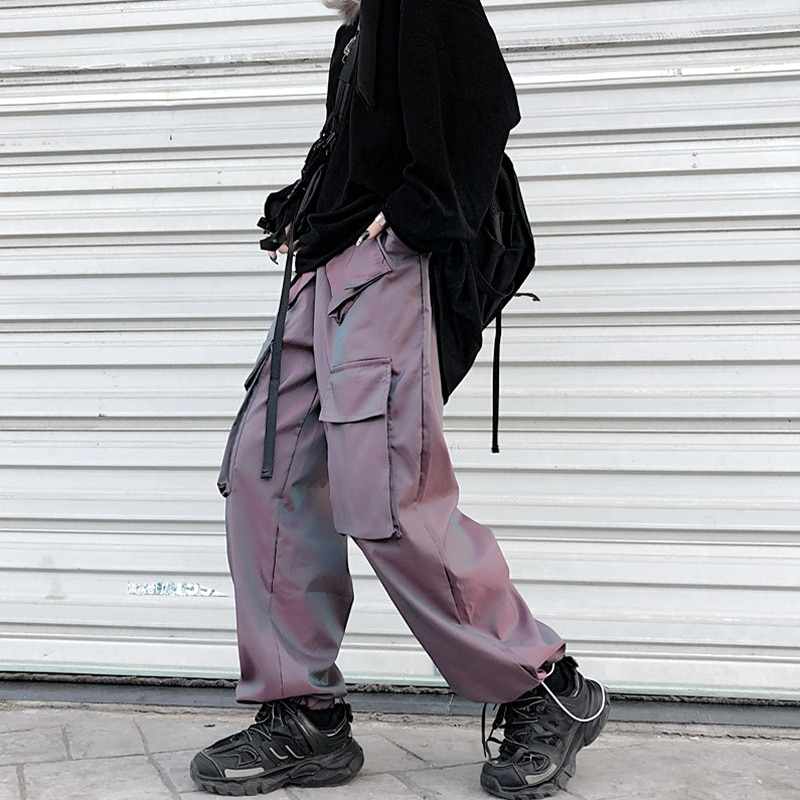 for Women Autumn and Winter 2021 New Reflective Shaping Overalls Straight Loose BF High Waist Wide L