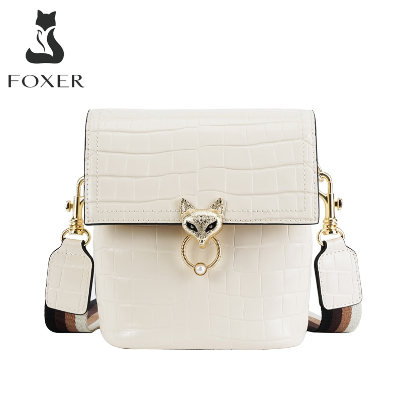 FOXER-حقيبة كتف أنيقة للنساء ، حقيبة كتف من جلد التمساح ، ماركة كلاسيكية عالية الجودة ، هدية مثالية