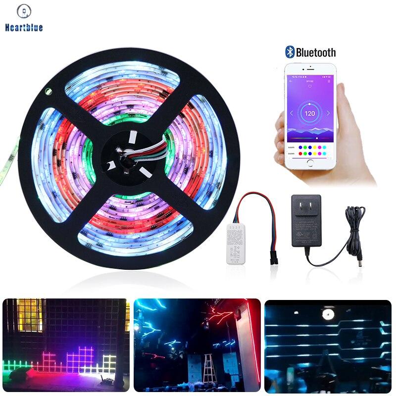 Bluetooth WS2811 RGB Led Strip Light Individually Addressable External 1 IC Control 3 Leds Flexible Ribbon Tape DC12V Full Set
